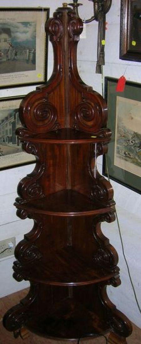 Regency-style Mahogany Four-Shelf Corner Whatnot