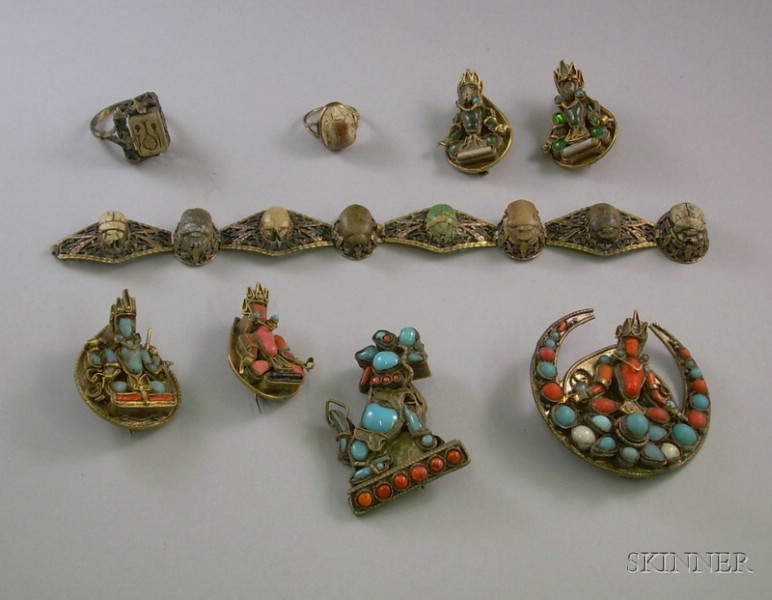 Six Asian Turquoise and Coral Gilt Pins, an 18kt Gold and Egyptian Scarab Bracelet, and Two 18kt Gold Scarab Se...