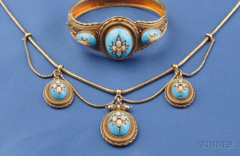 Antique 14kt Gold, Enamel, Coral, and Diamond Necklace and Bracelet
