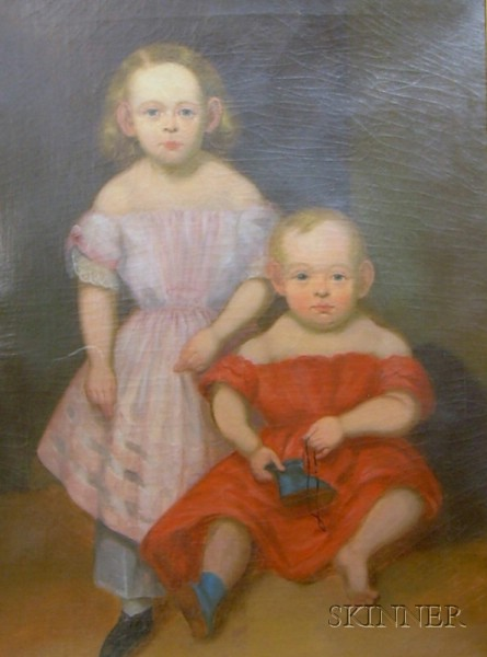 19th Century American School Oil on Canvas Portrait of Two Children