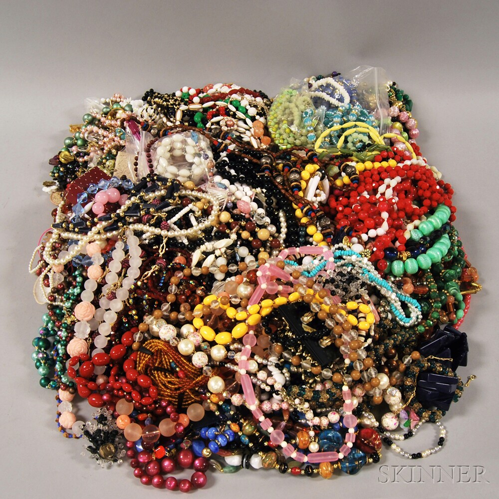 Large Group of Mostly Plastic Beaded Necklaces