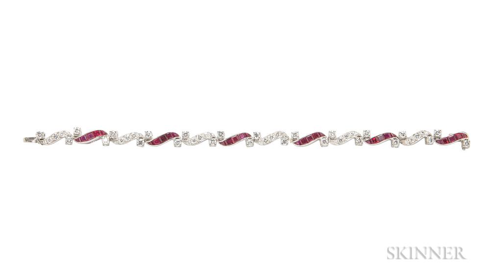Platinum, Ruby, and Diamond Bracelet, Attributed to Oscar Heyman