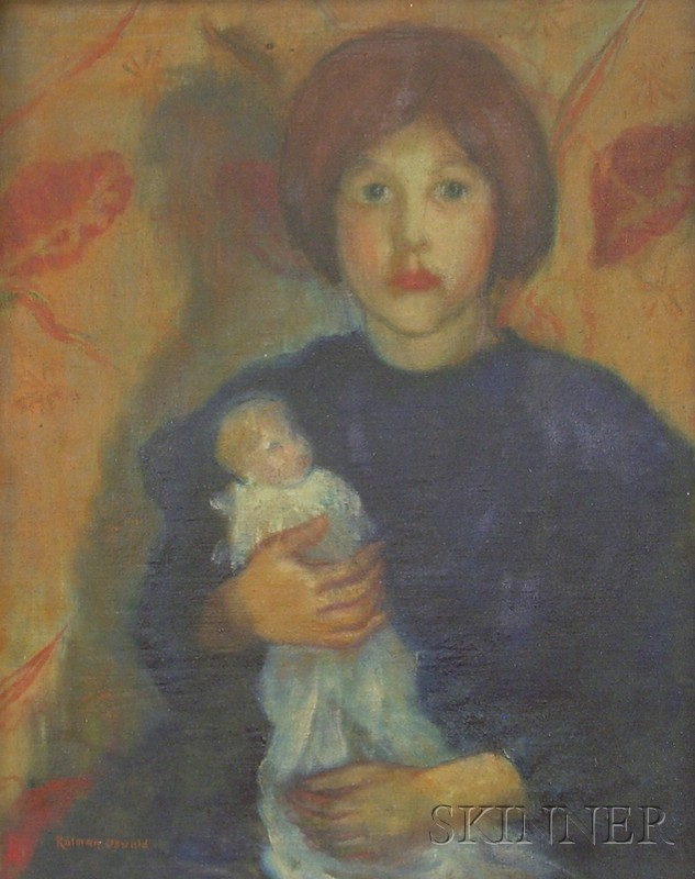 Framed Oil on Canvas Portrait of a Girl with Her Doll by Kalman Oswald      (American, 1888-1975)