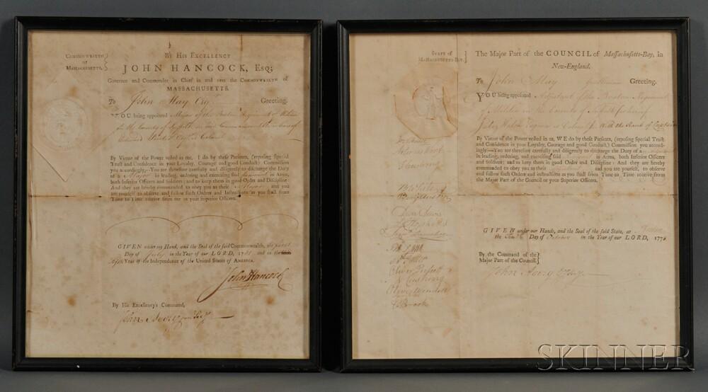 Hancock, John (1737-1793) Signed Military Commission to the Rank of Major, John May (1748-1812) 1 July 1781.