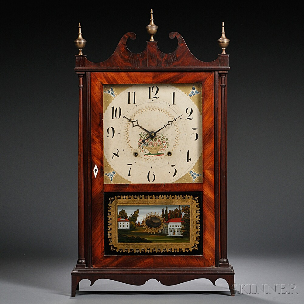 Bishop & Bradley Pillar and Scroll Shelf Clock
