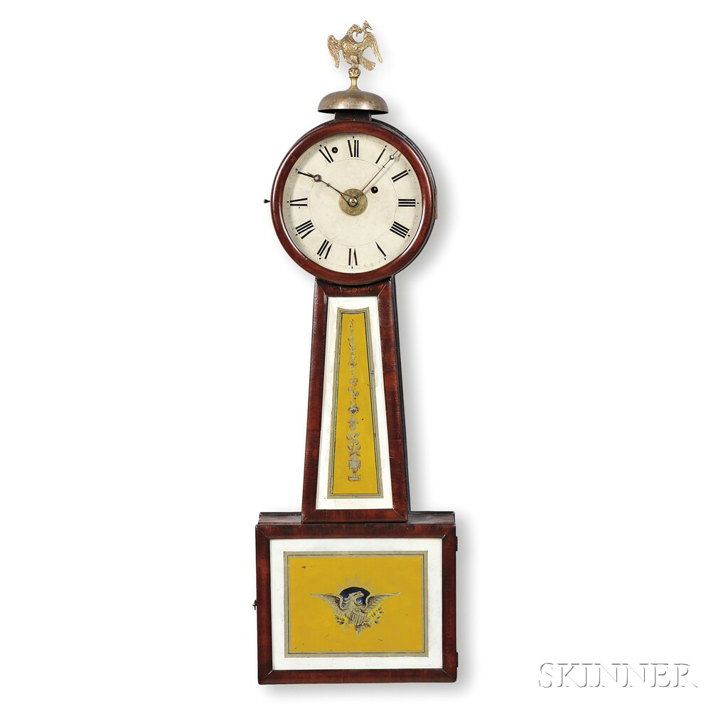 "Reuben Tower Patent Timepiece with Alarm or ""Banjo"" Clock"