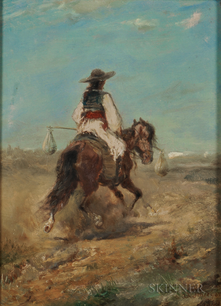 Adolph Schreyer (French/German, 1828-1899)      Rider and Horse in a Desert Country (Wallachian Peasant)