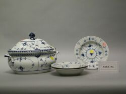 Sixteen Pieces of Royal Copenhagen Blue and White Porcelain Dinnerware