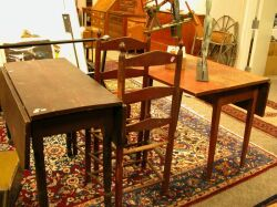 Federal Red Stained Drop-leaf Table and a Grain Painted Drop-leaf Table.