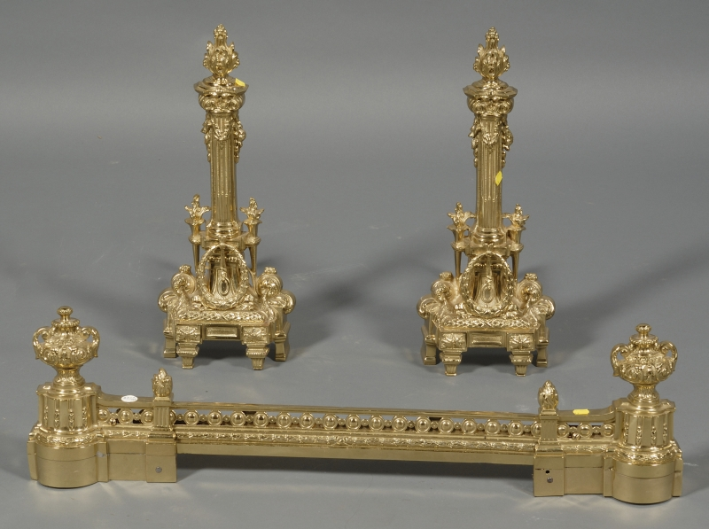 Pair of Louis XVI Brass Andirons and an Associated Adjustable Fire Fender