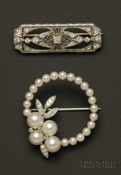 14kt White Gold, Diamond, and Pearl Circle Pin and a Platinum and Diamond Lacework Bar Pin.