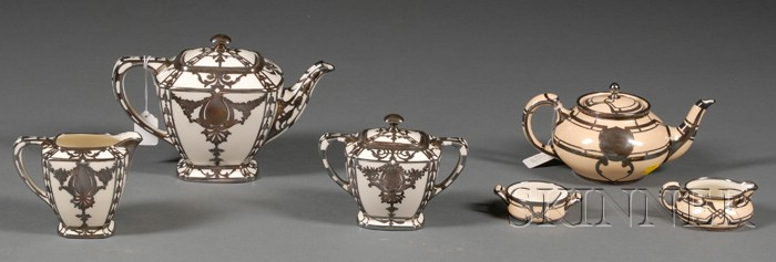 Two Classical Revival Lenox Porcelain and Sterling Overlay Tete-a-tete Tea Sets