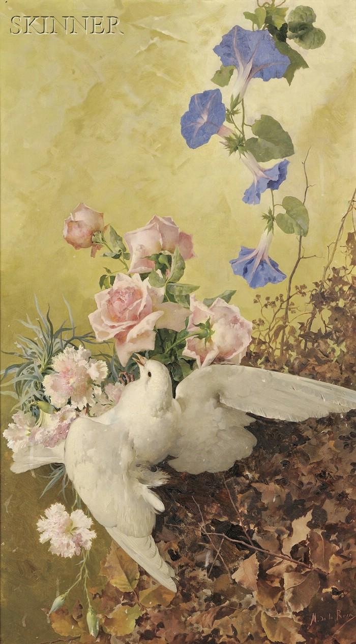 Manuel de la Rosa (Spanish, 1860-1924)      Dove and Flowers