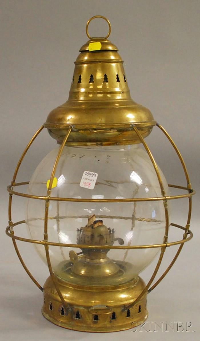 Large Perkins Brass and Molded Glass Kerosene Onion Lantern with Double Burner