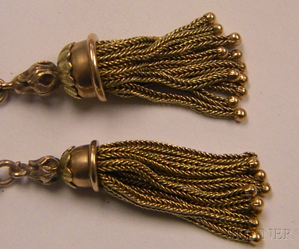 Victorian 10kt Gold and Seed Pearl Slide Necklace with Tassels