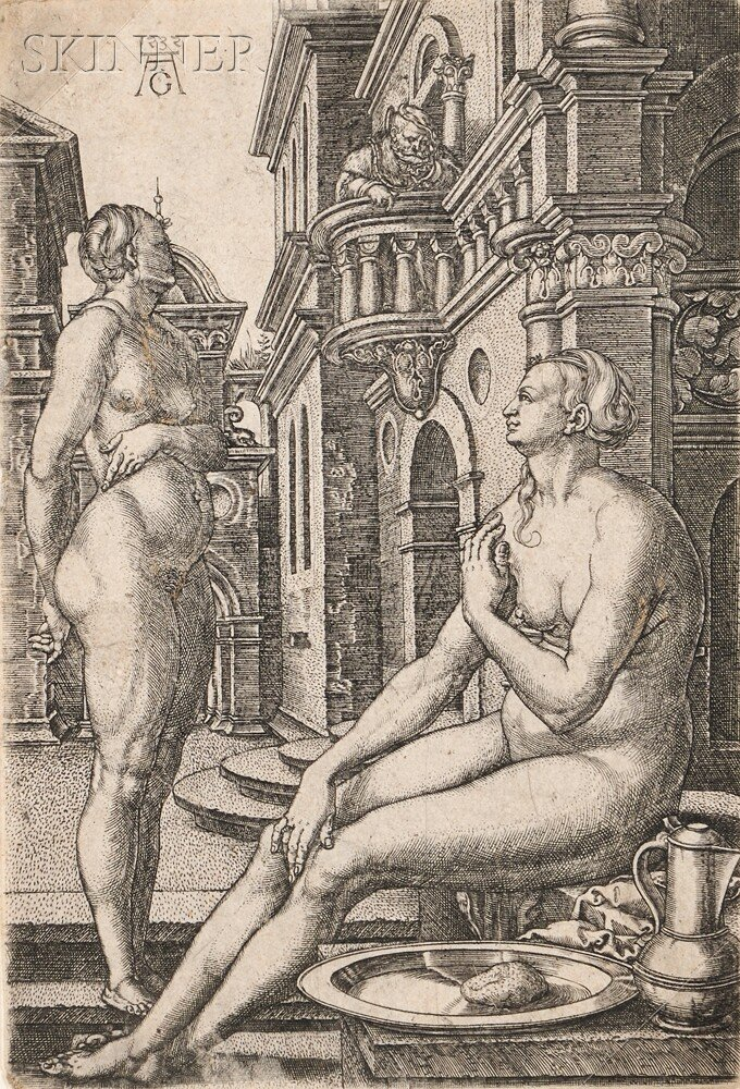 Heinrich Aldegrever (German, 1502-c. 1561)      Bathsheba at the Bath
