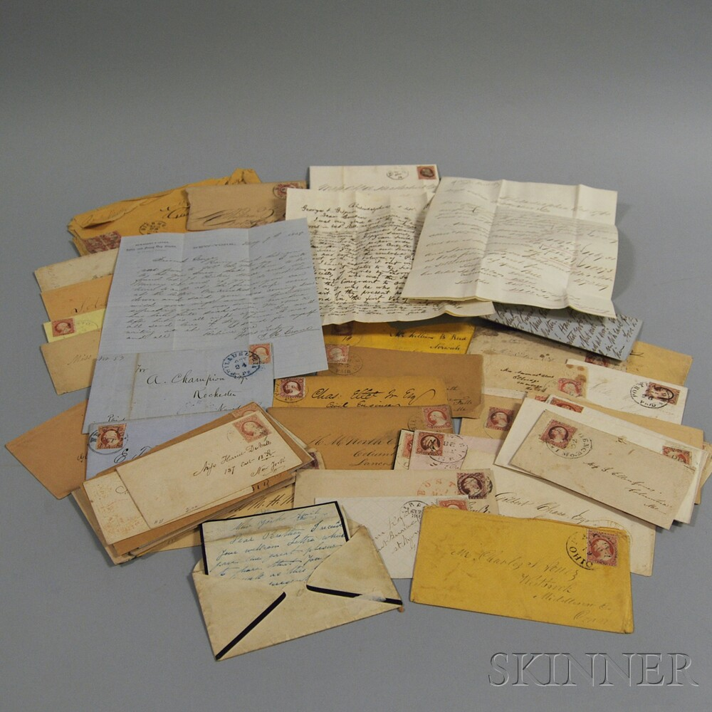 Small Collection of 1850s and 1860s United States Stamped Letters and Envelopes