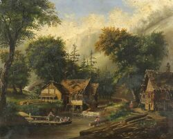 Continental School, 19th Century  Animated Mill Scene with Alpine Cottage.