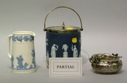 Wedgwood Silver Plate Mounted Dark Blue Jasper Biscuit Jar, Embossed Queens Ware Pitcher and Three Silver Plated Table Items.