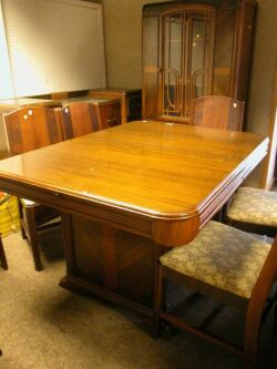 Nine-Piece Art Deco Exotic Wood Veneered Dining Room Set