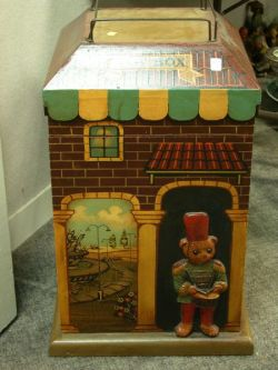 Painted Wooden House-form Toy Box.