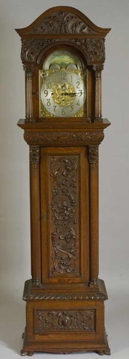Renaissance-style Carved Oak Long Case Clock