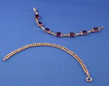 18kt Gold Herringbone Link Bracelet and a 14kt Gold and Amethyst Link Bracelet