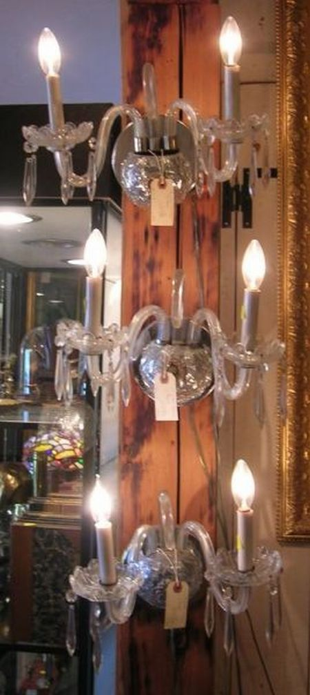 Set of Three Italian Molded Colorless Glass and Chrome Two-Arm Wall Sconces