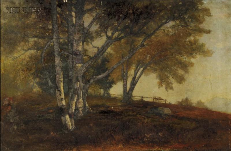 Benjamin Champney (American, 1817-1907)      Landscape with Birches