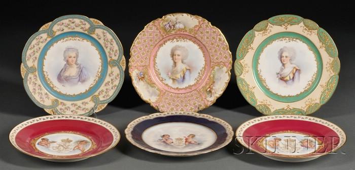 "Group of Six ""Sevres"" Porcelain Cabinet Plates"