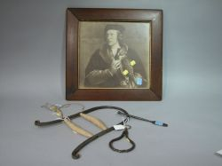 Four Iron and Wooden Falconry Items and a Framed Print of Robert Cheseman with Bird.