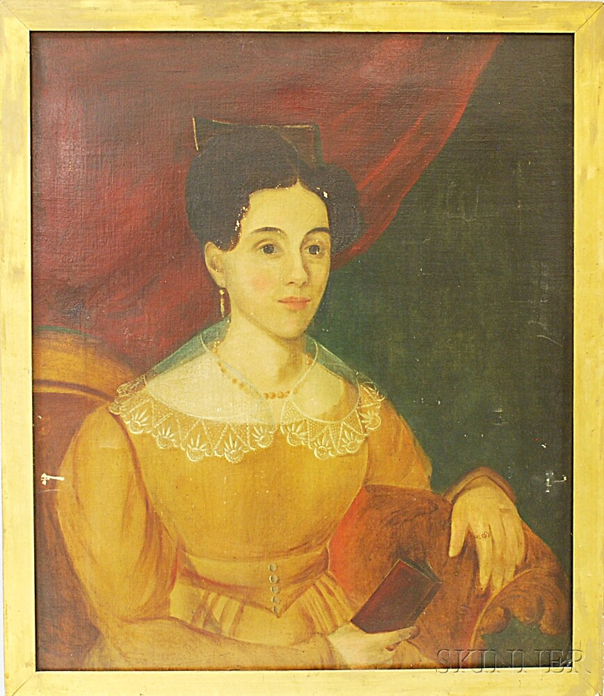 American School, 19th Century       Portrait of a Woman with a Book.