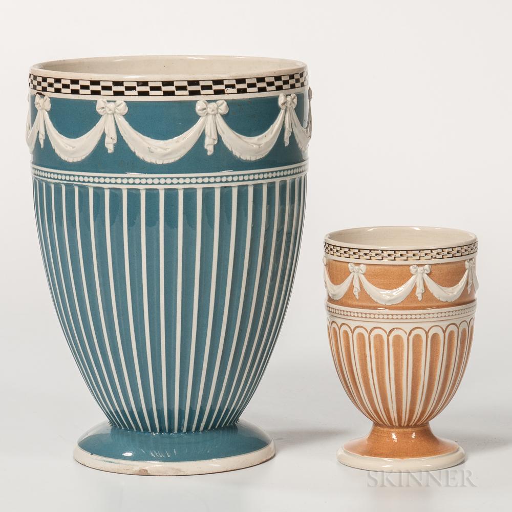 Two Glazed White Terra-cotta Vases