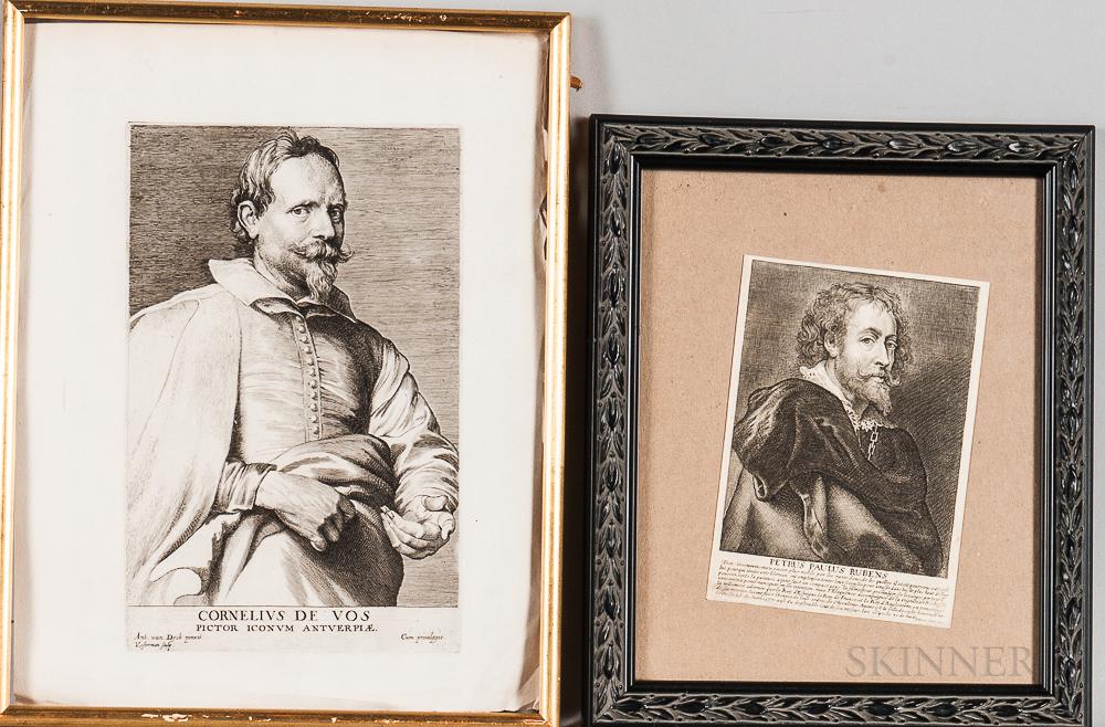 British School, 18th Century, After Dutch 17th Century Works  Five Framed Engravings of Dutch Artists: Cornelius De Vos, Van...