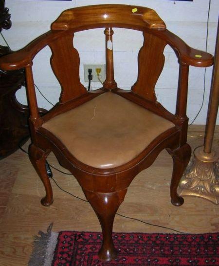 George III Style Mahogany Corner Armchair