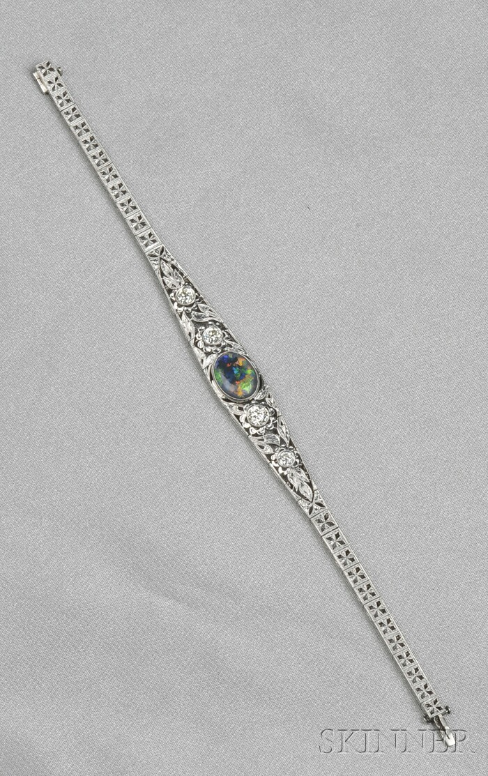 Art Deco Platinum, Black Opal, and Diamond Bracelet