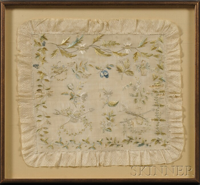 Framed Silk Needlework Pillow Cover and Chinese Needlework Fragments