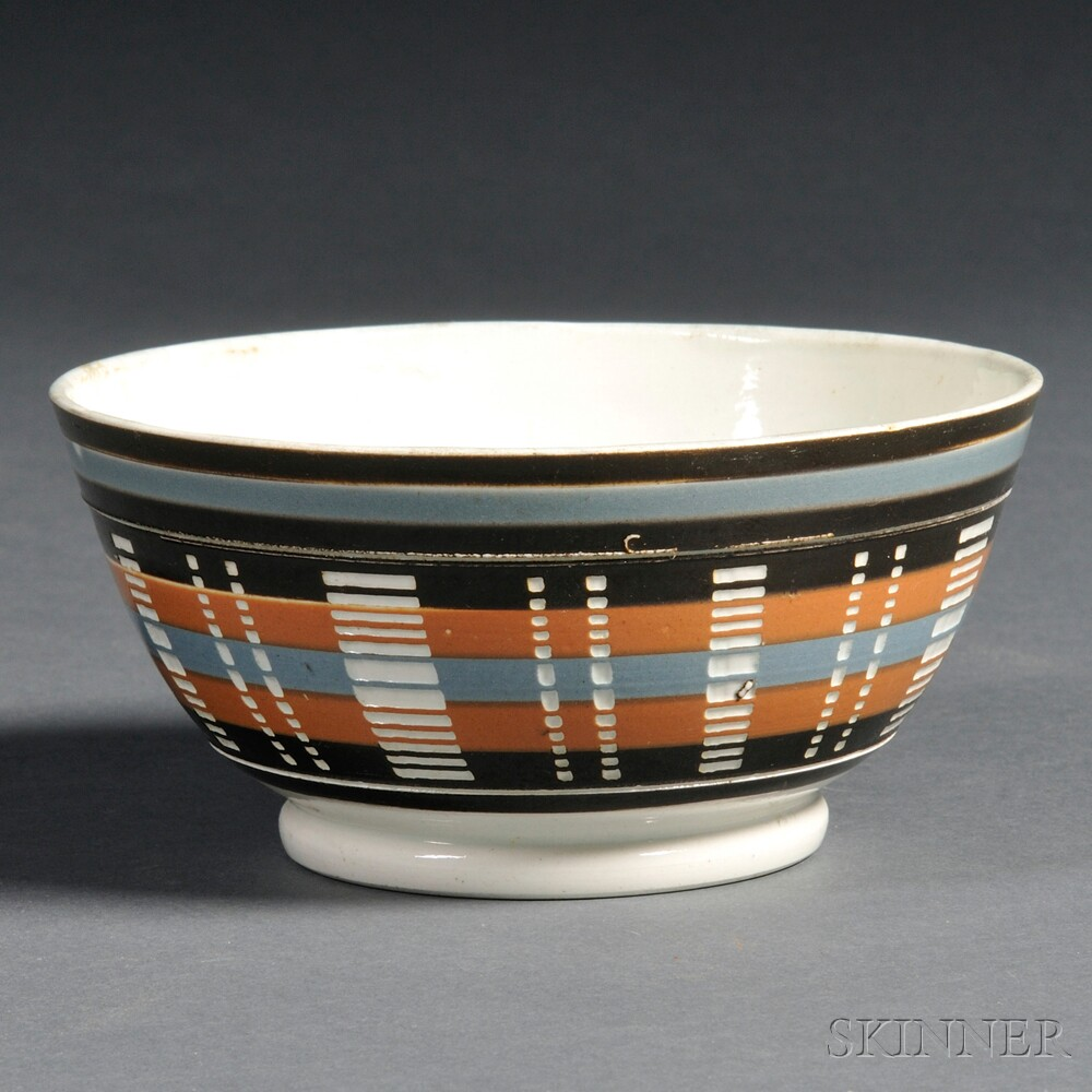 Striped Engine-turned Mochaware Pottery Bowl