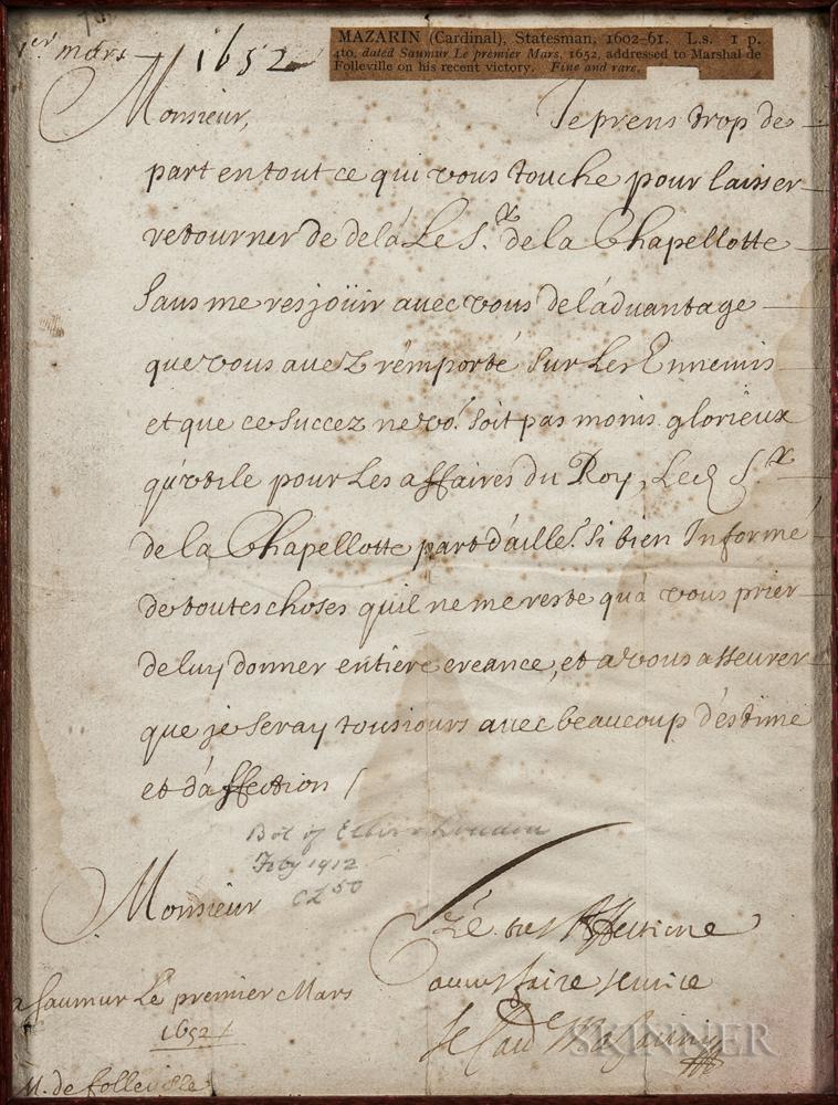Mazarin, Cardinal Jules Raymond (1602-1661) Letter Signed, 1 March 1652.