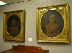 Lot of Two Framed Oil Portraits of Young Girls.
