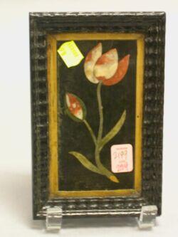 Framed Pietra Dura Tulip Plaque.