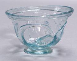 Pale Aqua Blown Glass Footed Bowl