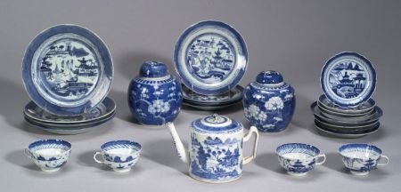 Assembled Group of Twenty-three Pieces of Chinese Export Porcelain Canton Blue and White Tableware.