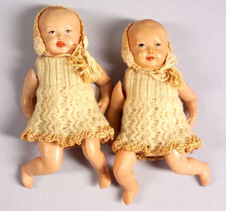 Pair Celluloid Twin Dolls
