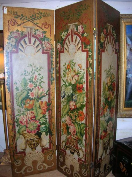 Modern Hand-painted Floral Decorated Three-Panel Floor Screen