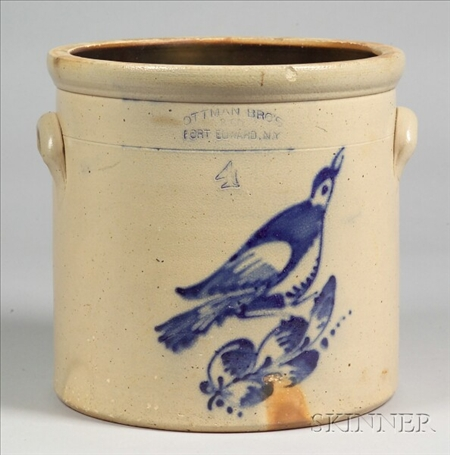 Four-Gallon Cobalt Blue Decorated Stoneware Crock