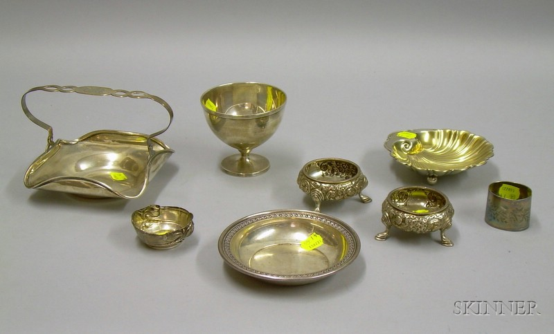 Eight Sterling and Silver Plated Table Items