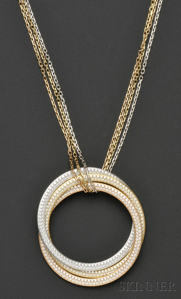"""18kt Tricolor Gold and Diamond """"Trinity"""" Necklace, Cartier, France"""