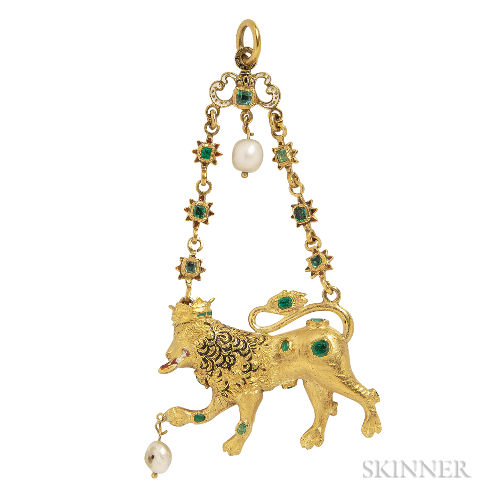 Renaissance Revival Gold, Emerald, and Enamel Lion Pendant