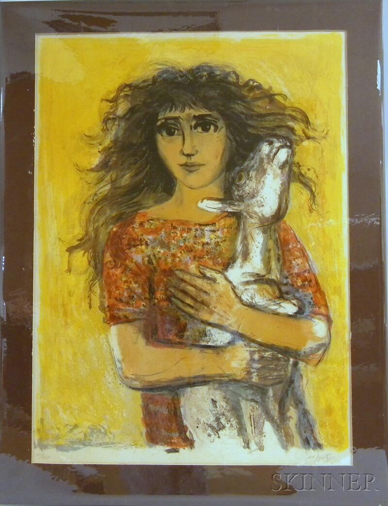 Walter Spitzer (Polish, b. 1927)      Woman Holding a Goat.